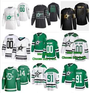Новый 2020 All Star Hockey 91 Сегин Джерси прошитой Далла Звезды 14 Джейми Бенн 47 Александр Радулов 24 Роопе Hintz Черный Зеленый Белый