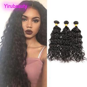 Brazilian Virgin Hair Extensions 3 Stücke / Los Wasser Welle 3 Bundles Menschliches Haar Weaves 8-28inch Haar-Verlängerungen natürliche Farben-Naß und Wellig