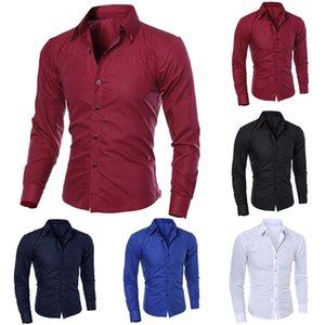 2019 pura cuello de la camisa de manga larga de color venta caliente delgada camisa de los nuevos hombres de la moda ajustada camisa clásica de los hombres de moda cl
