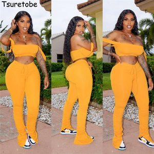 Tsuretobe Streetwear 2 Piece Set Women Crop Top And Stacked Pants Split Matching Sets Off Shoulder Club Outfits Summer Clothes CX200702