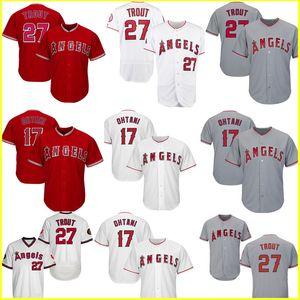 Femininos barato 27 Mike Trout Jersey 17 Shohei Ohtani Majestic Scarlet Alternate Legal Base de Flex Base de jogador de beisebol Jerseys