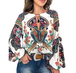 Camicetta delle donne estate magliette casual stampa floreale Blusa Lanterna a maniche stampato allentato Pullover O-Collo camicetta superiore