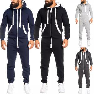 Otoño invierno para hombre de la cremallera del mono remiendo ropa deportiva con capucha deportiva con el bolsillo grueso Playsuit Nueva Ropa para Hombres
