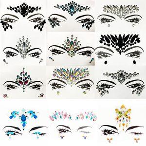 1pcs Party Glitter sirène visage Gems Bijoux Body Art Tattoo Sticker Déguisements