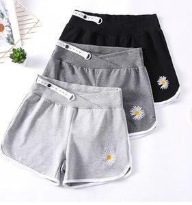 Shorts Maternidade Gravidez roupas Pants Moda Pouco Crisântemo Bordados mulheres grávidas Calças Casual Sports Curto