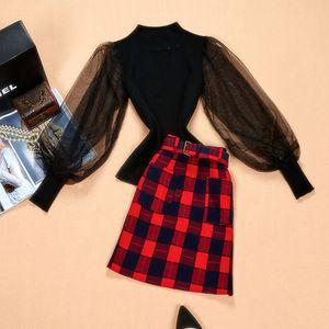 Korea Style Women's Casual Designing Stunning Twin Sets Lantern Sleeve Sweater Mini Plaid Skirt Slim Skirt Suits Outfits