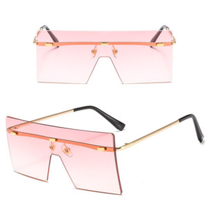 Trendy NO Frame Women Sunglasses Oversized Square Sun Glasses Colorful Lenses One Pieces 10 Colors Wholesale