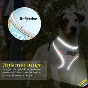 Breathable Nylon No Pull Dog Harness Vest Reflective Adjustable Printed Pet Harness For Small Medium Dogs Cats
