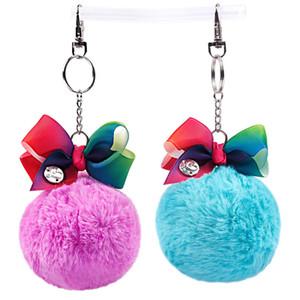 JOJO Enfants bowknot Fur Fuzzy Trousseau Bébés filles Hairpin Pendentif enfants Bows Porte-clés Accrochez Fuzzy boule Porte-clés pendentifs sac d'école