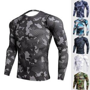 New Camo Compression shirt dos homens Camisa Running Rashgard Trainning Exercício T Gym Top aptidão camiseta Bodybuilding T