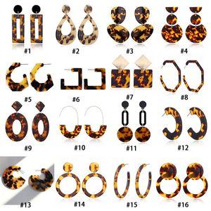 New Leopard Print Acrylic Acid Acid Sheet Dangle Earrings For women Geometric Circle Square Long Drop statement Brincos Boho Jewelry
