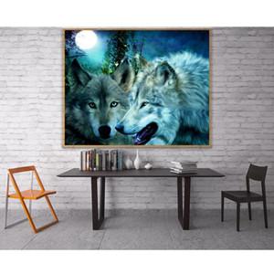 5D diy diamond painting cross stitch wolfs moon resin square drill full rhinestone diamond embroidery icon home decor painting