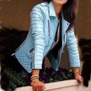 Moda Mulheres Primavera Outono Casacos De Couro Faux Lady MotorCyle Zipper Biker Casaco Azul Outerwear Plus Size Jacket Feminino