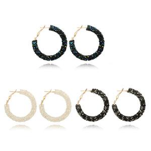Luxus Einfache Design Nobel Kristall Ohrclips für Frauen Runde Kreis Aussage Hochzeit Ohrringe Modeschmuck Großhandelspreis
