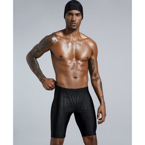 Mens Swimming Shorts 2020 Summer Shark Skin Waterproof Swimming Shorts Men Solid Color Printed Skinny Swimwear 6 Styles Hot Sell