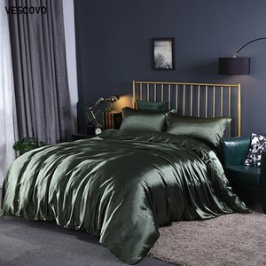 VESCOVO Maulbeereseide 100% Bettwäsche-Sets sind Bettwäsche dekbedovertrek Queen-Bett Bettlaken Decke Abdeckung setzt T200706