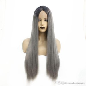 New Trendy Fashion Cheap Straight Wigs Black Ombre Gray Synthetic Lace Front Wigs for Black Women