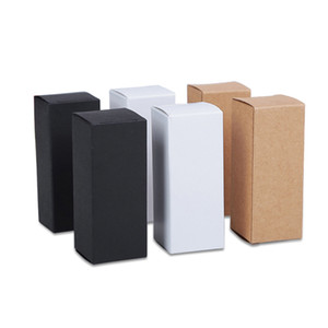 50pcs lot Black White Brown Gift Package Box, Kraft Paper Gift Boxes, Foldable Soft Cardboard Cosmetic Lipstic Bottle Packing Box