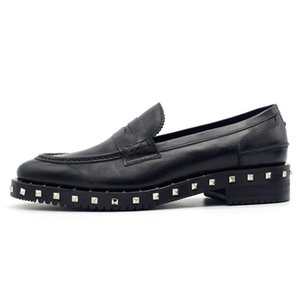 Genuine Leather Platform Loafers British Mens Height Increasing Slip On Rivet Dress Shoes Black Business Sapato Social Masculino