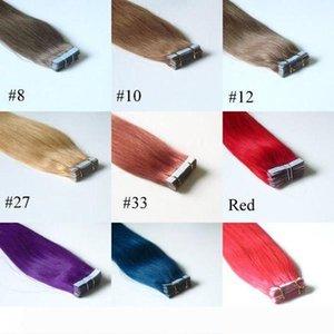 Heißen Verkaufs-Skin Weft Haar-Verlängerungen 20 PCS seidige gerade brasilianische Haar-Klebeband-Haut-einschlag 9 Farben Haarverlängerungen