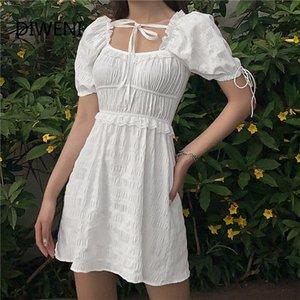 DIWEINI Сладкой девушка Tasse мини-платье женской KPOP элегантной улицы носить платье белого Ежедневно партии стиля отпуска