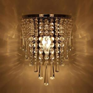 Lámpara de pared de cristal moderna Aplique de pared de cromo para sala de estar Cuarto de baño Hogar Iluminación de interior Decoración luz de pared