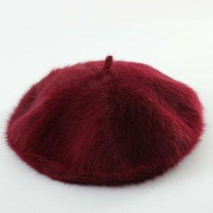 Winter Haar Pelz Barett Hüte Frauen Französisch-Hut-Mädchen Solid Color berets Lady Fashion Wool Berets für Frauen Flatcap