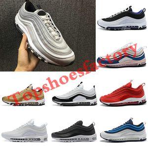 Nike air max 97 airmax 97 платформа кроссовки ультра Серебряная пуля тройной Белый Бальк металлик золото мужчины Спорт мужские кроссовки Zapatos Chaussures 40-45
