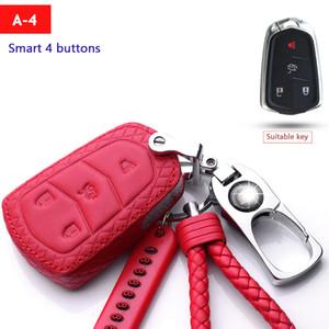 Véritable cas de clé de voiture de mode en cuir pour Cadillac ATSL / CTS / CT6 / 4 / XTS / XT5 / SRX métal Porte Clés bouton Smart Set Key Portefeuilles