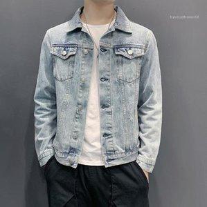 Günlük Coats Moda Tek Breasted Ceket Erkek Giyim Erkek Jeans Dış Giyim Artı boyutu Uzun Kollu