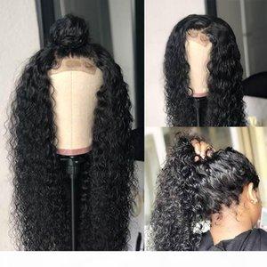 Parrucca riccia umana merletto della parte anteriore di colore naturale 13 * 4 parrucche del merletto anteriore parrucche con Bambino candeggiati Nodi Londan UK Fashion