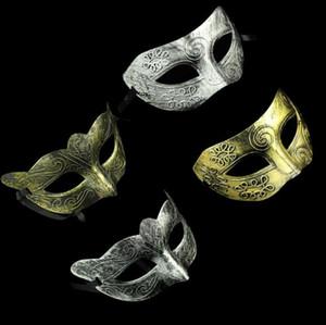 Men's retro Greco-Roman Gladiator masquerade masks Vintage Golden Silver Mask silver Carnival Mask Mens Halloween Costume Party Mask