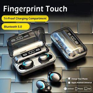 F9-5 TWS 5.0 بلوتوث سماعات الأذن اللاسلكية 9d باس ستيريو في سماعات الأذن Handsfree Heads With Microphon Charging Case