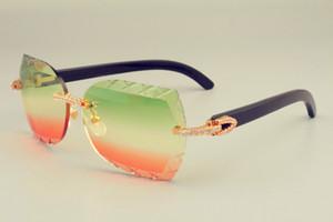 2019 جديد الشحن الحر dhl العدسات الساخنة بيع النظارات الشمسية 8300593-B القرون السوداء الطبيعية أيضا النظارات ، الماس الفاخر unisex sunshade,
