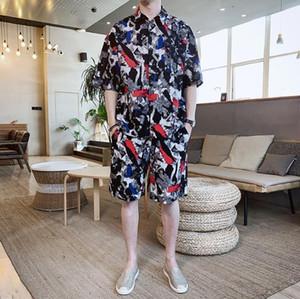 Мужские 2pcs Китайский стиль Мода Повседневная наборы Короткие штаны Короткие рубашки Камуфляж 2pcs лето ретро Дизайнер
