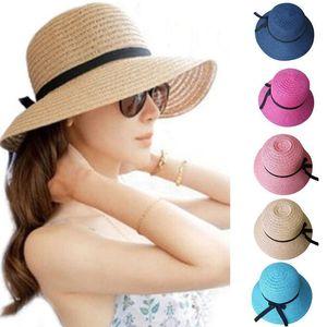 Floppy Foldable sun caps Ribbon Round Flat Top Sombrero de playa Sombrero de Panamá Sombreros de verano para mujeres Sombrero de paja snapback gorras D19011106