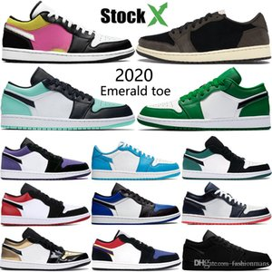 Nueva Baja 1 1s zapatos de baloncesto de Jumpman esmeralda del dedo del pie hiper corte real OG SP Travis Scotts hombres púrpuras mujeres estilista zapatillas de deporte