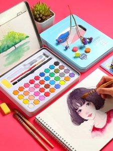 Katı suluboya boya seti 36 renk ambalaj kutusu acemi çocuklar guaj suluboya fırça aracı sanat suppli el boyaması