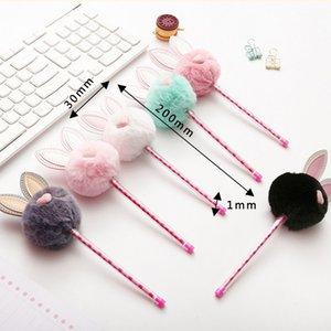 Cute Plush Rabbit Ears Gel Pen 0.5mm Kawaii Black Ink Neutral Pens For Kids Girls Writing School Supplies Korean Stationery