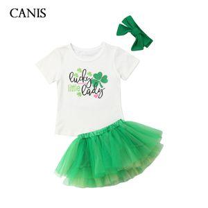 2020 Summer 3PCS Newborn Infant Baby Girl Outfits Clothes Set Letter Print Short Sleeve T-shirt Tops+Mini Tutu Skirt Headband