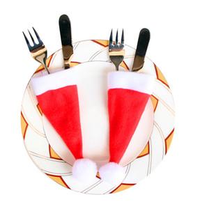 Nueva 10PCS decorativo de Navidad vajilla de Navidad Caps Cubiertos Cuchillo Tenedor Holder Set Cuchara de bolsillo de la decoración de Navidad Bolsa de regalo Decoración H05