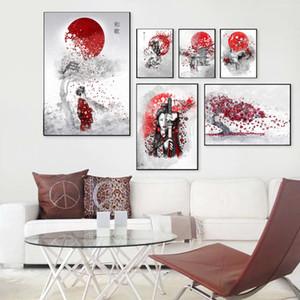 Pinturas de decoración para el hogar cartel de la mujer japonesa Sun construcción nórdica Wall Art HD imprime cuadros modernos de lona para la sala ilustraciones