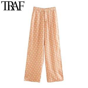 TRAF Mujeres Chic Moda Bolsillos laterales impresos pantalones de cintura alta de la vendimia de la cremallera Mujer Pantalones Pantalones Mujer