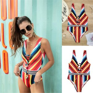 One Piece Swimwear Sexy Patchwork Color Skinny Ladies Bikinis Casual Female Bathing Suits Summer Colorful Womens