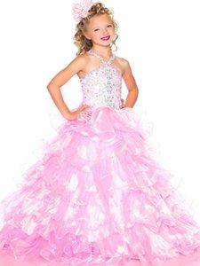 2020 Bastante desfile de vestidos de tul Rosa correas granos de la flor de chicas vestidos para niñas de vestir de noche elegante de vestir a medida Vacaciones