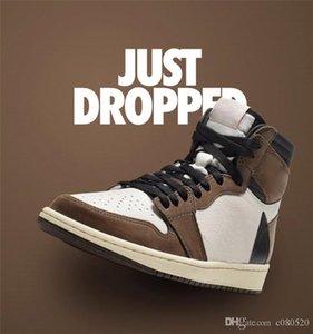 Nueva liberación de aire Travis Scott X 1S alta OG TS SP 1 Low zapatos para hombre de baloncesto de Vela Oscuro Mocha Universidad al aire libre las zapatillas de deporte US5-13.