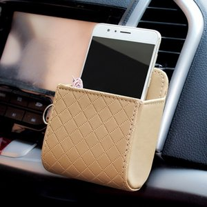 Universal Car Outlet Storage Bag for Phones PU Leather Tidy Case Organizer Car Mount Multi-function Organizer Holder Free Shipping