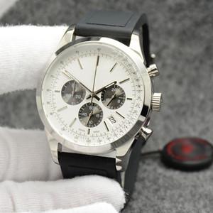 Transocean cronógrafo de cuarzo Unitime al aire libre multiusos esfera blanca del reloj para hombre Relojes de pulsera 44mm masculinos con la goma durable