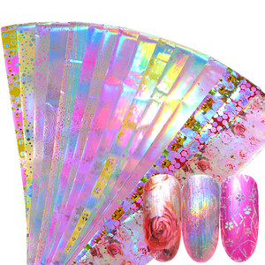 16pcs Holographic Nagel-Folien-Set Mix-Blumen-Entwurf Transferfolie Nagellack-Aufkleber-Kunst-Dekoration Slider Abziehbilder JI746