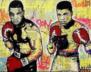 ARTE de la decoración urbana Alec Monopoly boxeadores Ali Tyson Decoración Artesanías / impresión de HD pintura al óleo sobre lienzo arte de la pared de la lona representa 200130